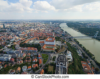 Aerial view of Bratislava castle and Danube river