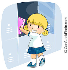 Student Locker - A Beaming Girl in School Uniform Putting...