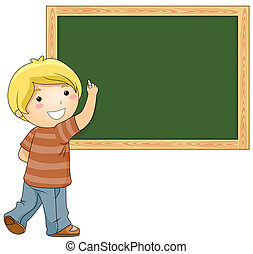 Student - A Beaming Boy Writing Something on the Blackboard