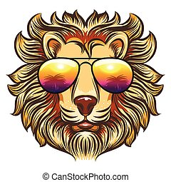 Lion in rainbow glasses in cartoon style. Hand drawn leo in...