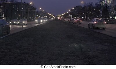 City traffic at night in Moscow - RUSSIA MOSCOW - february...