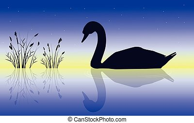 Silhouette of swan beauty nature scenery vector art