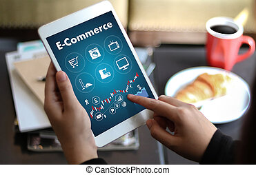Business people use Technology E-commerce Internet Global...