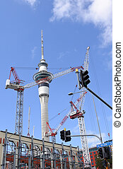 Auckland - New Zealand - AUCKLAND - MAR 03 2017:Many cranes...