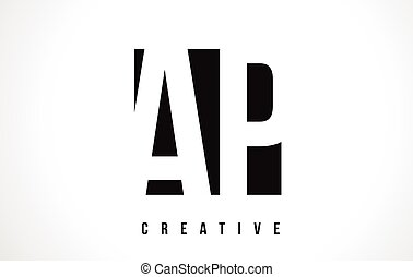 AP A P White Letter Logo Design with Black Square. - AP A P...