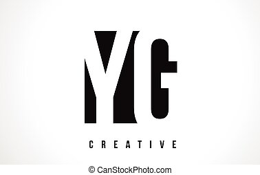 YG Y G White Letter Logo Design with Black Square. - YG Y G...