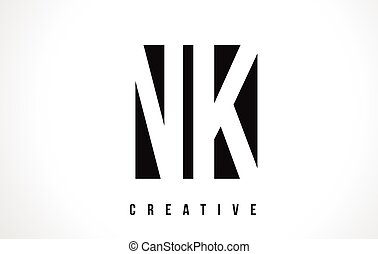 NK N K White Letter Logo Design with Black Square. - NK N K...