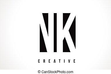 NK N K White Letter Logo Design with Black Square. - NK N K...