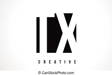 TX T X White Letter Logo Design with Black Square. - TX T X...