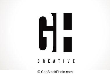 cuadrado, G, H, diseño, carta, logotipo, negro, blanco, gh...
