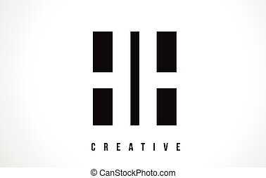 HH H H White Letter Logo Design with Black Square. - HH H H...