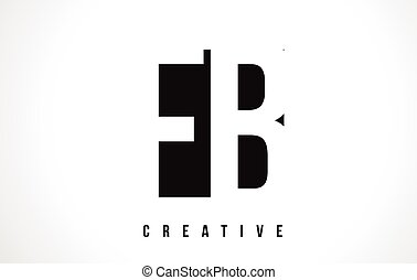 FB F B White Letter Logo Design with Black Square. - FB F B...