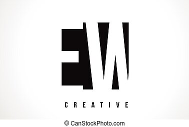 EW E W White Letter Logo Design with Black Square. - EW E W...