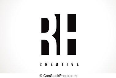 RH R H White Letter Logo Design with Black Square. - RH R H...