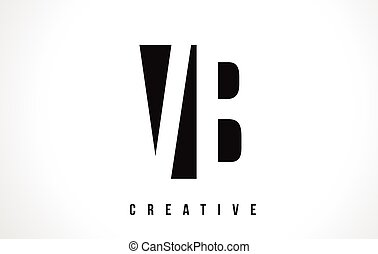 VB V B White Letter Logo Design with Black Square. - VB V B...