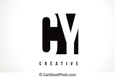 CY C Y White Letter Logo Design with Black Square. - CY C Y...