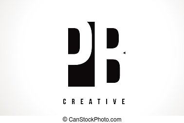 PB P B White Letter Logo Design with Black Square. - PB P B...