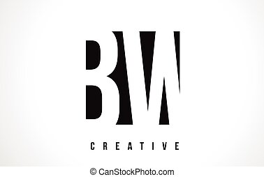BW B W White Letter Logo Design with Black Square. - BW B W...
