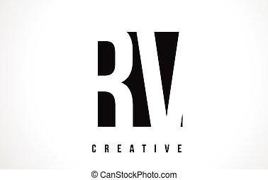 RV R V White Letter Logo Design with Black Square. - RV R V...