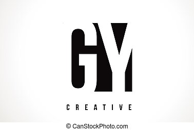 GY G Y White Letter Logo Design with Black Square. - GY G Y...