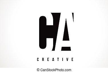 CA C A White Letter Logo Design with Black Square. - CA C A...