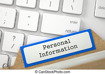 File Card with Inscription Personal Information. 3d. - Blue...