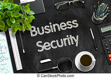 Black Chalkboard with Business Security. 3D Rendering. -...