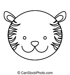 frotn view silhouette face cute tiger animal