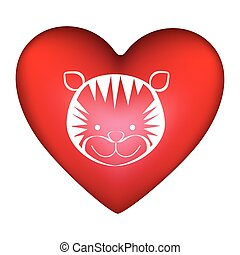 red heart shape with silhouette face cute tiger animal