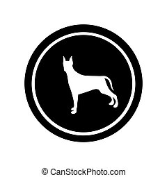 circular frame with figure doberman pinscher dog animal...
