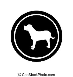 circular frame with figure big dog animal