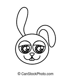 silhouette caricature face rabbit animal with expressive...