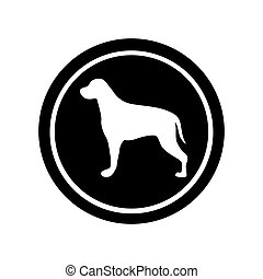 circular frame with figure retriever dog animal