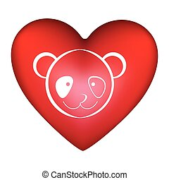 red heart shape with silhouette face cute panda animal