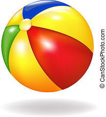 Beach Ball - Bright Beach Ball, Isolated On White...