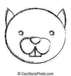 blurred silhouette caricature face cute chipmunk animal...