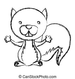 blurred sketch silhouette cute chipmunk animal rodent vector...