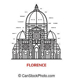 Florence Landmark Vector Illustration - Travel Florence...