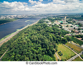 view of Lavra and Dnipro in Kyiv, Ukraine - beautiful aerial...