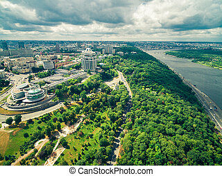 beautiful view of central part of Kyiv and the Dnipro river,...