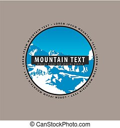 Snow-covered mountains with a place for inscription - Logo...