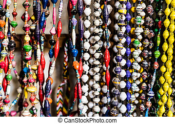 different colorful beads at african market
