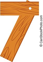 Number seven made from wooden boards