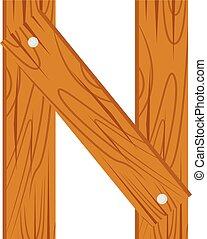 wooden alphabet N letter