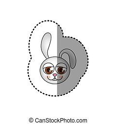 small sticker of colorful picture face of rabbit with big...