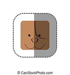 colorful face sticker of dog face in square frame