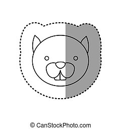 sticker of grayscale contour with face of squirrel vector...