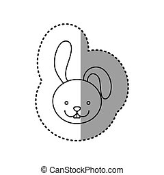 small sticker of grayscale contour with face of rabbit...