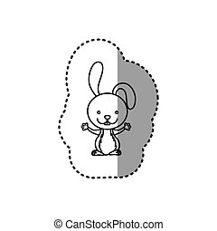 sticker of grayscale contour of rabbit vector illustration