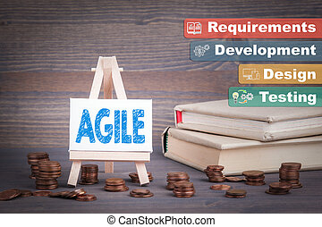 Agile software development, Business Concept. Miniature easel with small change